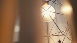 Light Lamp with Bulb In the Cafe. Decorative Industrial Loft Style in Restaurant Footage