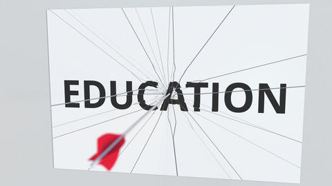 EDUCATION text plate being hit by archery arrow. Conceptual 3D animation GIF