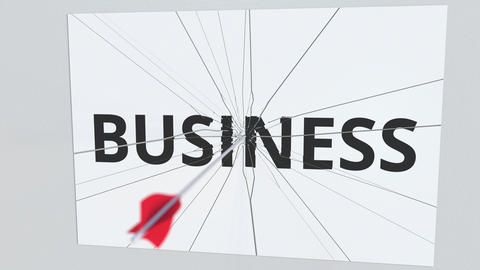 Archery arrow breaks plate with BUSINESS text, conceptual 3D animation Live Action