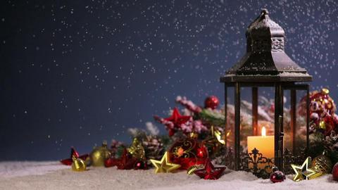 Lantern and christmas decoration Footage