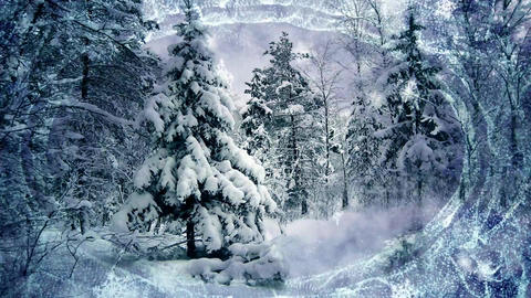Winter forest with moving snow ,useful for christmas card 애니메이션