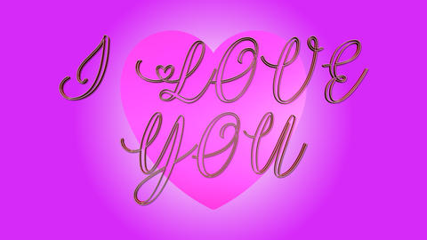 I LOVE YOU 3D Text Looping Animation - Heart Shapes On Pink Background Live Action