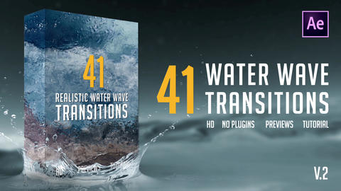 Realistic Water Wave Transitions Pack After Effects Template