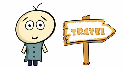Character, planet and travel sign Animation