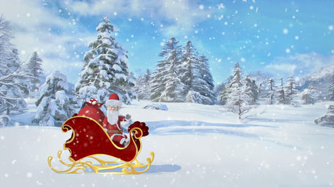 Santa Claus is riding over the forest in a sleigh with gifts. Merry Christmas Footage