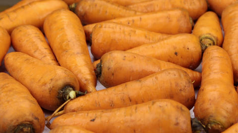 Close-up. The rotation of the background made from carrots Live Action