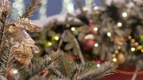 Christmas tree decorated with glittery Christmas decorations, Live Action