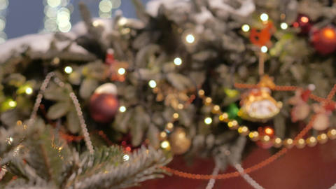 Christmas tree decorated with glittery Christmas decorations Stock Video Footage