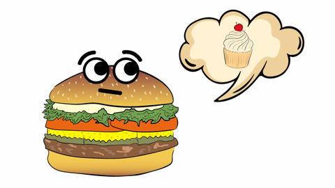Cheeseburger thinks of cake Animation