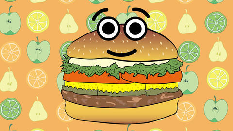 Cheeseburger and apples Animation