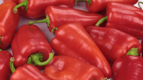 Close-up. The rotation of the background made from peppers Live Action