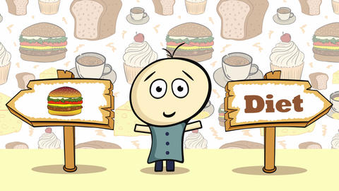 Choice cheeseburger or diet Animation
