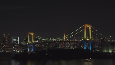 [alt video] Night view of Tokyo seen from Tokyo Bay - Pan left to right
