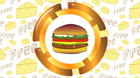Cheeseburger icon and cheese Animation