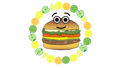 Cheeseburger in a circle of fruit Animation