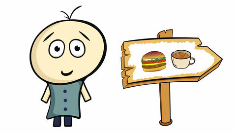 Character on white and fast food Animation