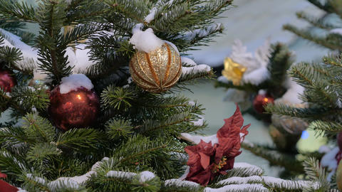 Christmas tree decorated with glittery Christmas decorations Footage