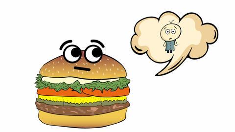 Cheeseburger thinks of human Animation