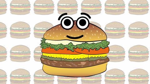 Cheeseburger against the background of burgers Animation