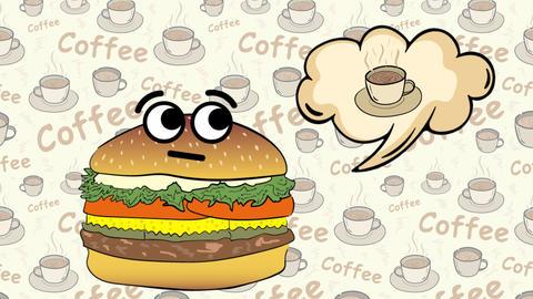 Cheeseburger on coffee thinks of coffee Animation