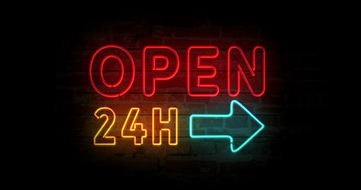 Open 24h neon sign Animation
