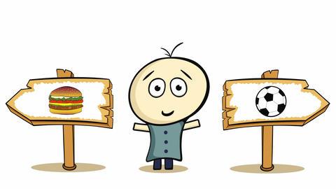 Choice cheeseburger and soccer Animation