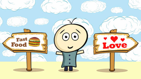 Choice burger or love and sky Stock Video Footage