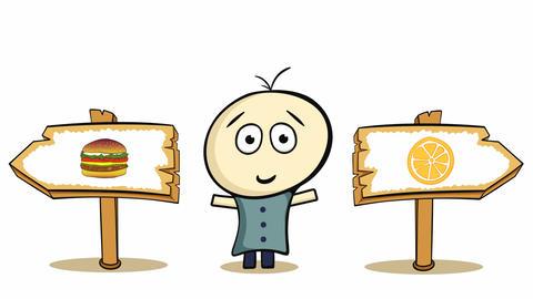 Choice cheeseburger and orange Animation