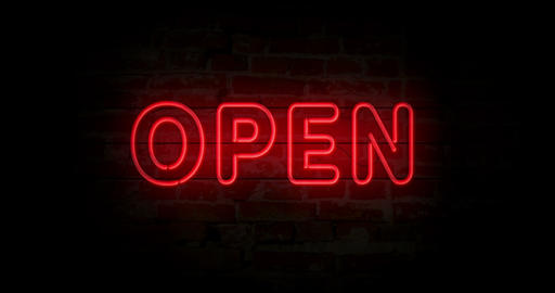 Open neon sign Animation
