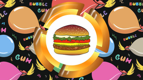 Icon cheeseburger and colors bubble gum Animation