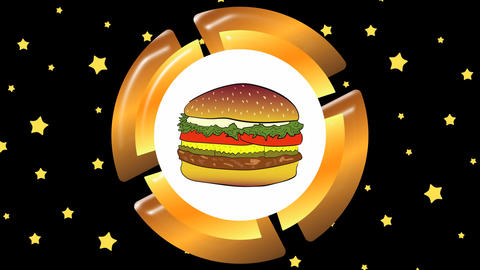 Icon cheeseburger and stars Animation
