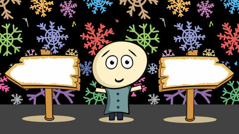 Road sign choice and color snowflakes Animation