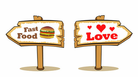 Sign choice food or love white Animation