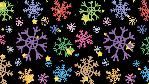 Snowflakes colorful and stars in black Animation