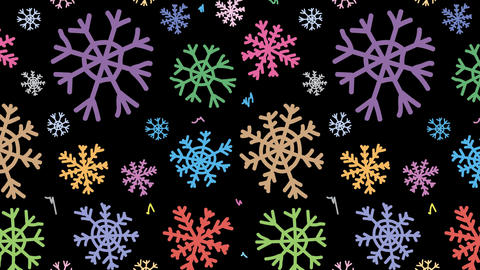 Snowflakes colorful on black Animation