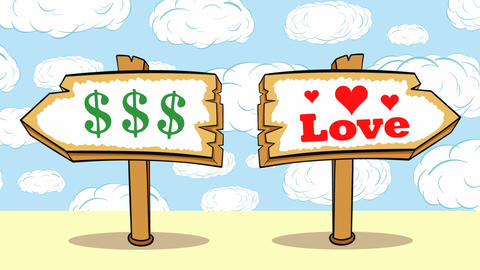 Way choise dollars or love clouds Animation