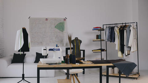 Atelier. Fashion design studio . A stylish studio for sewing clothes which has Live Action
