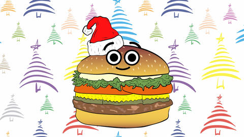 Xmas cheeseburger and color Christmas trees Animation