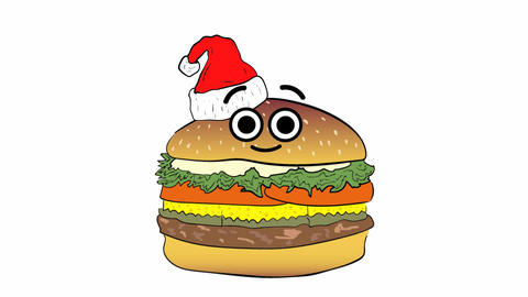 Xmas cheeseburger on white Animation