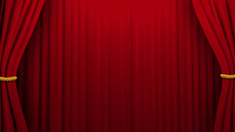 Curtains opening and closing stage theater cinema green screen 4K Footage