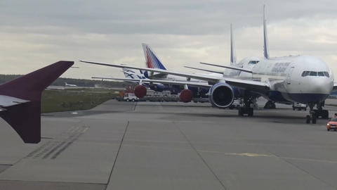 The plane moves down the runway Footage