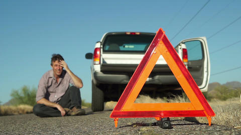 Truck Broken Down Emergency Triangle Male Sitting Live Action