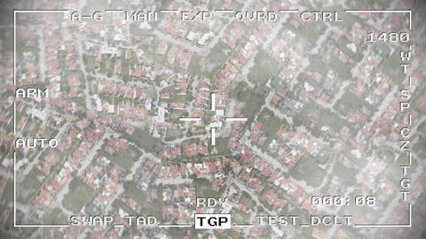 Smart bomb missile drop military drone spy war pov aerial shot falling 4k Footage