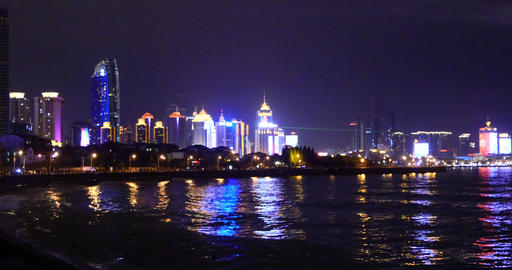 4k video,Seaside urban building at night,Tsingtao,QingDao,China Footage