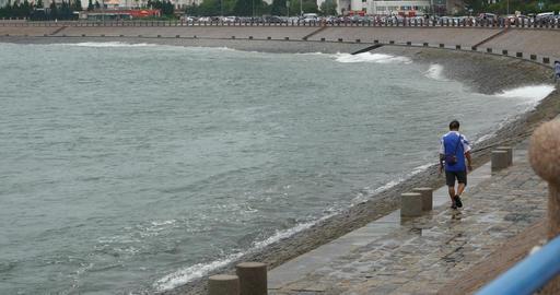 4k video,Ocean waves crashing to gulf Footage