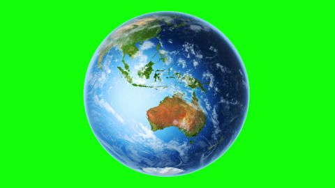 Earth Southern Hemisphere Rotating (Loop on Greenscreen) Animation