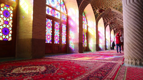 in iran inside the old antique mosque with glass and mirror traditional islam Live Action