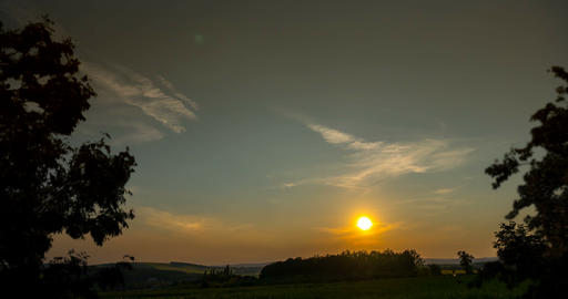4K, Time Lapse, Day To Night With Sunset and Moonrise over Czech Landscapes Footage