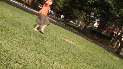boys playing ball with dad slow motion Footage