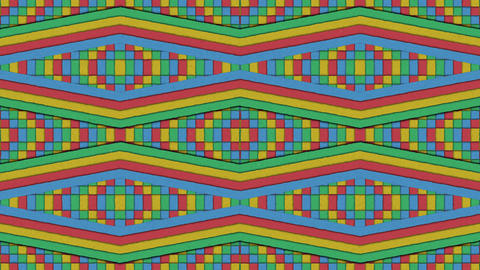 Kaleidoscopic Shapes Stripes And Squares Colorful Seamless Looping Backgrounds